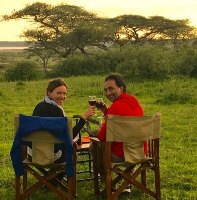 Piush & Nico enjoying wine on safari