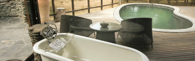 Luxury Lodge - bathtub & swimming pool